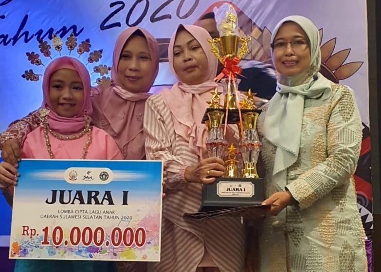 Pelajar Asal SDN 200 Tempe Juara I Lomba Cipta Lagu Anak Daerah Tingkat Provinsi Sulsel
